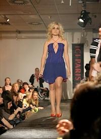 Open Shop fashion show blue dress.